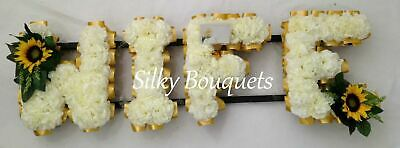 Wife Artificial Silk Funeral Flower Any 4 Letter Floral Tribute Wreath Memorial