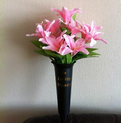 Artificial Silk Flower Pink Lily Grave Spike Vase Memorial Tribute Arrangement