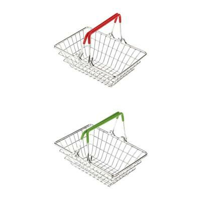 2x Mini Shopping Hand Basket Kids SuperMarket Role Play Toys Green & Red