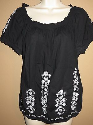Macys Style And Co Womens Top Size 8 Black White Peasant Off