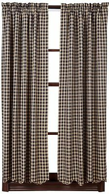 """63"""" Long Navy Blue Tan Check Countrytyle Lined Curtains Scalloped Hem"""