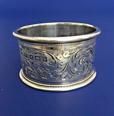 English Sterling Silver Engraved Napkin Ring Birmingham 1907