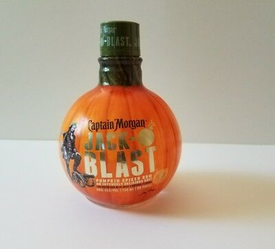 Captain Morgan Jack-O-Blast Pumpkin Shaped Spiced Rum Empty Bottle w/ Cap Craft