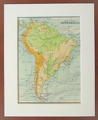 South America, Continent - Antique c.1900 Mounted Colour Map