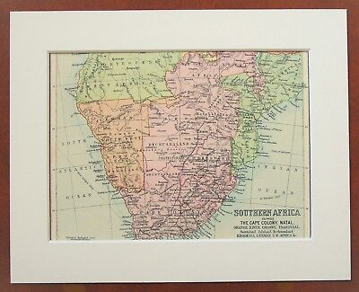 South Africa, Cape Colony, Transvaal, Namibia- Antique c.1900 Mounted Colour Map
