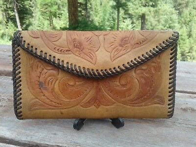 Hand Tooled Leather, Vintage, pre owned Wallet, Checkbook Cover, Western, Cowboy