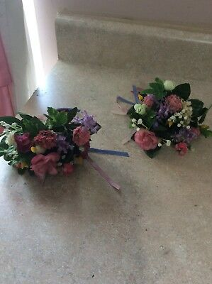 Home Interior Set Of 2 Pink Flower Stems With Ribbon