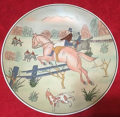 Fox Hunt Hunting Asian Design Decorative Porcelain Plate #2 Made in China