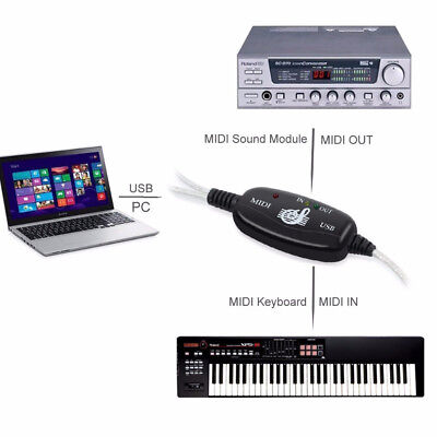 New USB In Out MIDI Interface Cable Converter PC To Music Keyboard Adapter Cord