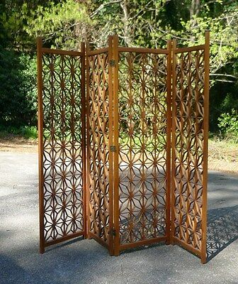 Vintage Anese Mahogany 4 Panels Wood Folding Screen Room Divider