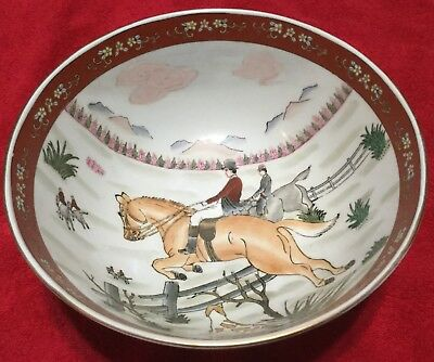 Fox Hunt Hunting Asian Design Decorative Porcelain Large Bowl Made in China