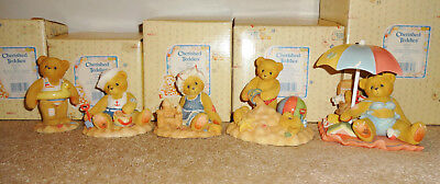 1996 Cherished Teddies Lot 5 beach bears Jim and Joey, Judy, Sandy, Jerry, Gregg
