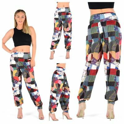 WOMENS LADIES PATCH WORK PATTERN PRINT HAREM ALI BABA TROUSERS PLUS SIZE 8-26