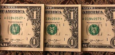MULTIPLE ERROR SEQUENTIAL ONE (1) ✯ STAR NOTE $1 Dollar CRISP UNC from BEP PACK