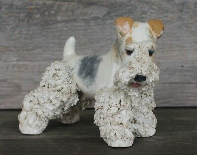 Rare JANE CALLENDER California SPAGHETTI Porcelain WIRE-HAIRED FOX TERRIER DOG
