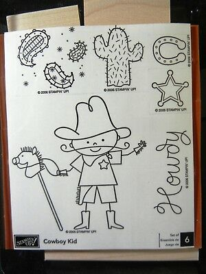 Stampin Up COWBOY KID Rubber Stamp Set Of 6 Wood Unmounted NEW