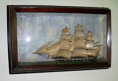 Early 1800s Diorama with British Warship in Battle of Lake Erie - Rare Piece