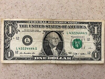 SOLID FIRST QUAD 1111 FIVE of a KIND in $1 Dollar Bill FANCY SERIAL NUMBER NOTE