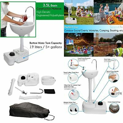 Portable Sink Outdoor Faucet Camping Kitchen Utility Rv Wheeled Water Basin Set