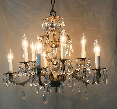 Antique 10 Light Multi Tier Brass and Crystal Chandelier