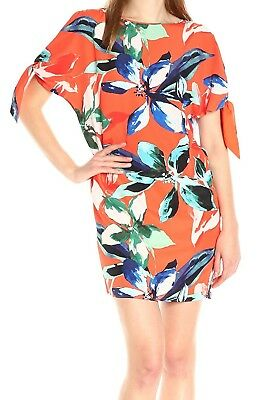 01b568ac8ad Vince Camuto NEW Orange Womens Size 4 Floral Tie-Sleeve Shift Dress  148 262