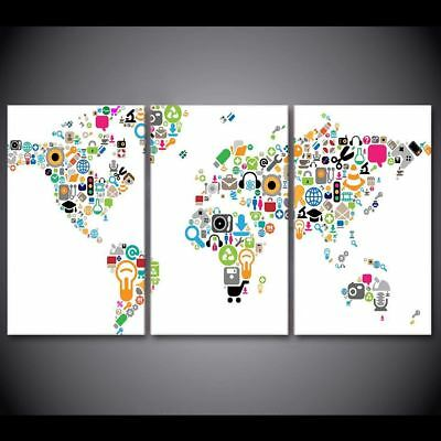 Social Media Internet World Map Large Canvas Wall Art Print Wall Picture