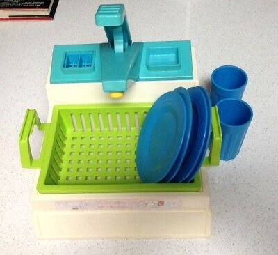 VINTAGE FISHER PRICE Fun with Food Play Kitchen Sink Dishes plates ...