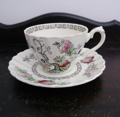 Vintage Staffordshire Myott Indian Tree Swirl Pattern Cup and Saucer England