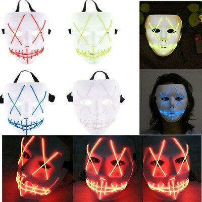 LED Mask The PURGE Movie EL Wire DJ Party Festival Halloween Glow Mask Costume