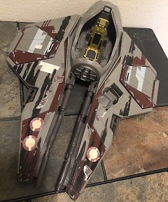 Star Wars Obi-Wan Kenobi Jedi Starfighter 2004 Hasbro Burgundy Gray Grey