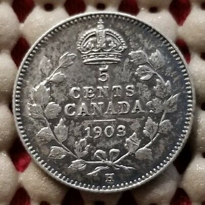 1903 H Canada 5 Cents Silver Coin