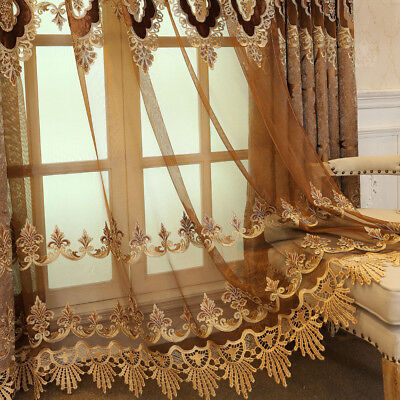 European Macrame Curtains Lace Brown Sheer Tulle for Villa Luxury Drape 1 Piece