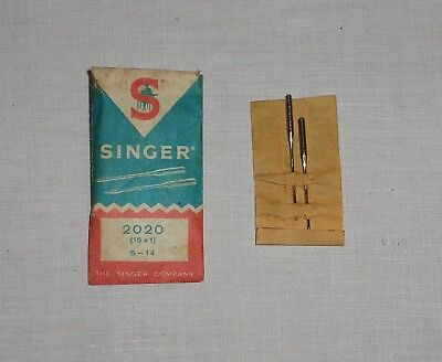 Vintage Singer Sewing Machine Needles 2020 (15X1) 5-14 Only - 2 Needles