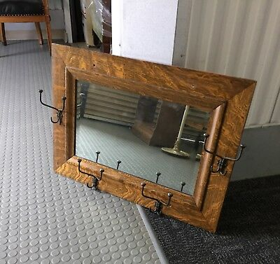 Antique Oak Beveled Saloon Wall Mirror with Coat/Hat Hooks Rectangular
