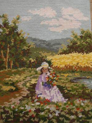 "Vintage completed wool Needlepoint tapestry Flowers girl 15.2""x11.8"""
