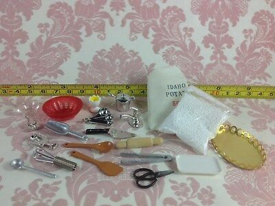 Dollhouse Miniature Home/Kitchen/Cook tools Metal Cooking Tool Set 20 pcs 1:12