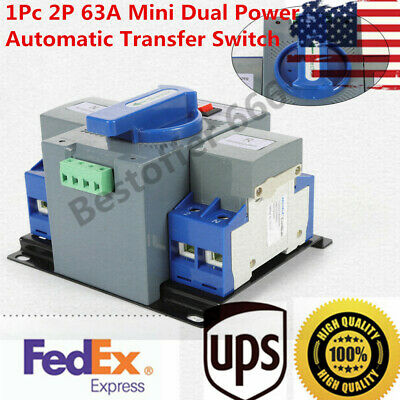 1Pc 63A 2P Mini Dual Power Automatic Transfer Switch Changeover Switch M6 ATS US