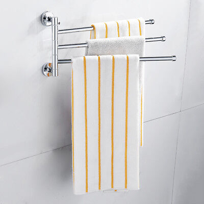2/3/4 Arms Wall Mounted Chrome Swivel Towel Rack Holder Hanger Stainless Steel