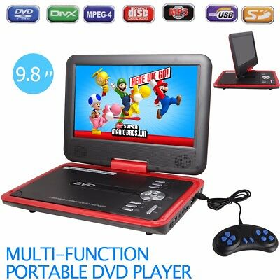 "9.8"" Portable DVD Player 270° Swivel Screen SD USB MP3 Game Disc AV in out - Red"
