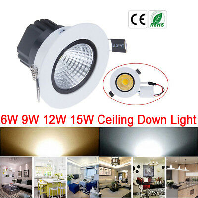 1/10/20pcs Dimmable 6W 9W 12W 15W COB LED Downlight Ceiling Recessed Light Lamp