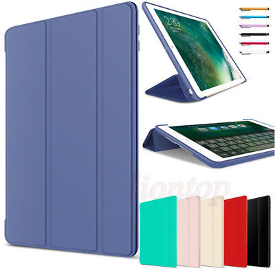 For iPad 9.7 2018 6th Gen A1893 A1954 Smart Stand Cover Case Softer Rubber Back