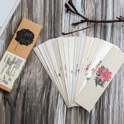 30X Chinese Style Bookmark Flower Paper Bookmark Originality School  Card!