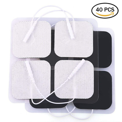 40 PCS Electrode Tens Units Pads Replacement for Massagers 2x2'' White Cloth