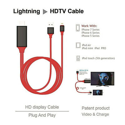 Lightning to 1080p 8Pin HDMI HDTV AV TV Adapter Cable Cord For iPhone US