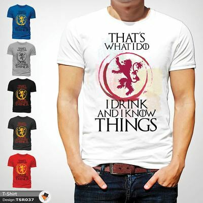 Game of thrones That's What I Do I Drink & I know Things T-Shirt Mens White 1