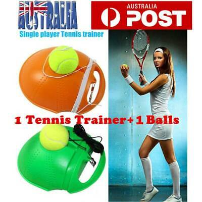 Single Tennis Trainer Training Practice Rebound Balls Back Base Tool + 3 Ball