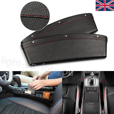 2x Car Seat Gap Slit Catch Catcher Case Storage Organizer Pocket Box Bag PU UK