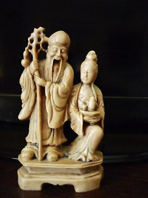 Vintage Chinese Carved Soapstone Figure Group TwoImortals