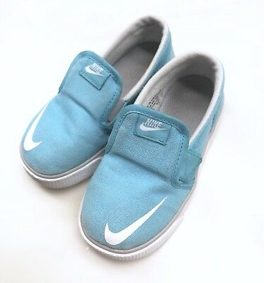 reputable site 9acc9 1def9 Used Nike toddler Boy Toki Slip-On Canvas Shoes 8C Clearwater Blue