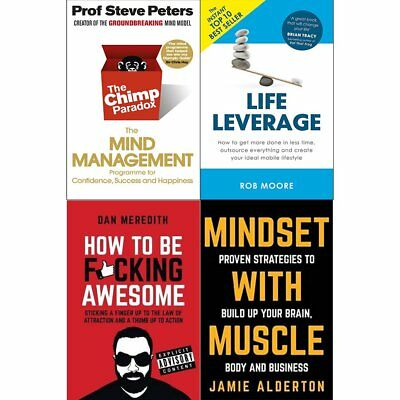 Chimp Paradox Life Leverage Mindset With Muscle 4 Books Collection Pack Set NEW